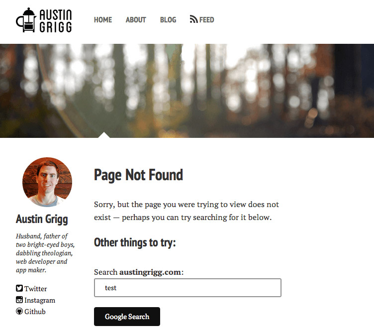 Screen shot of 404 page